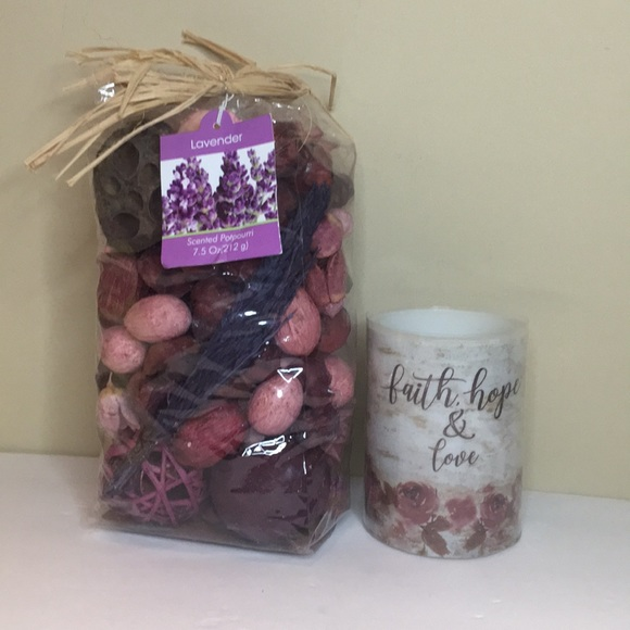 Lavender Scent Potpourri & Battery operated candle